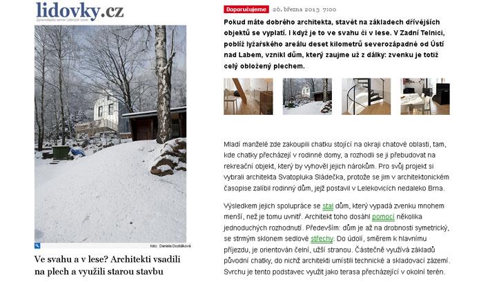 lidovky.cz - článek o chatě v Zadní Telnici