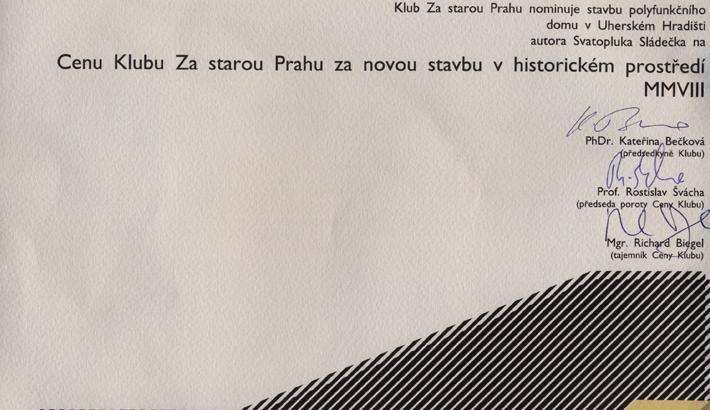 nominace na Cenu Klubu Za starou Prahu / 2008